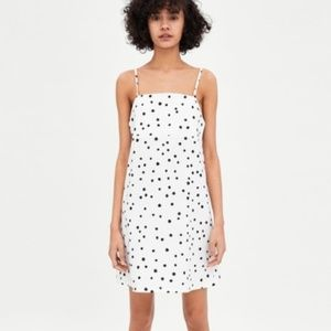 Zara White Black Polka Dot Strappy Mini Dress NWT